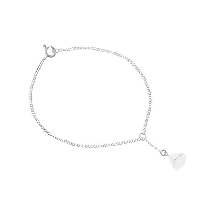 silver hex slim y-chain bracelet B