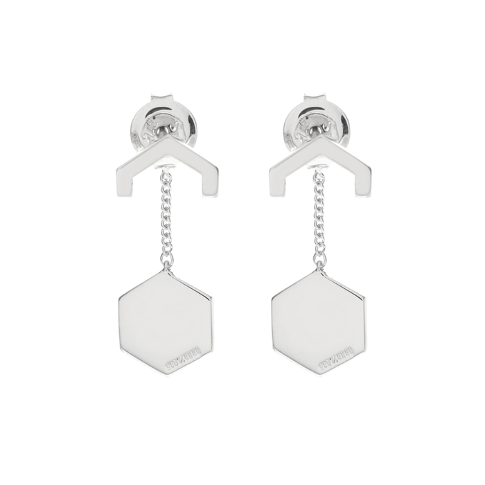 silver hex half drop earrings