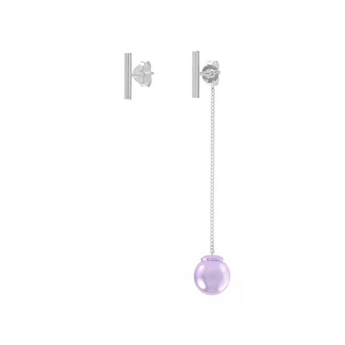 silver bar color ball drop earrings